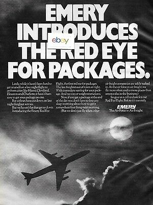 Emery Air Freight 1977 Introduces The Red Eye Flights For Package Dc-8 Ad