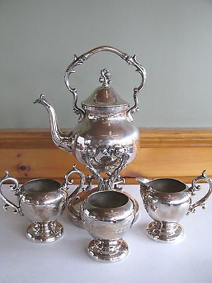 SHEFFIELD Silverplate Tilting Teapot Tea Set