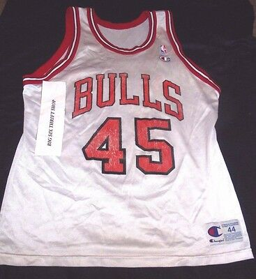 on sale 9d4a8 2434d MICHAEL JORDAN #45 CHAMPION Chicago Bulls NBA Jersey Snapback sz 44 Large  White