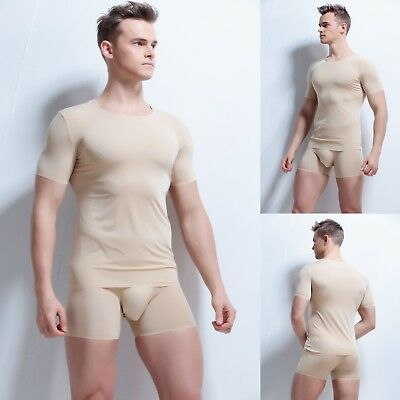 Mens T-Shirts Slim Fit Sexy Stretch Tops ice silk Underwear Undershirt Vests