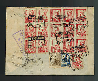 1937 Spain Civil War Censored Cover to Buenos aires Argentina Franco Cachet