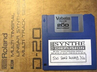 ROLAND D-20 Linear synth 500 Patches + factory SOUNDS Library D20 FLOPPY Format