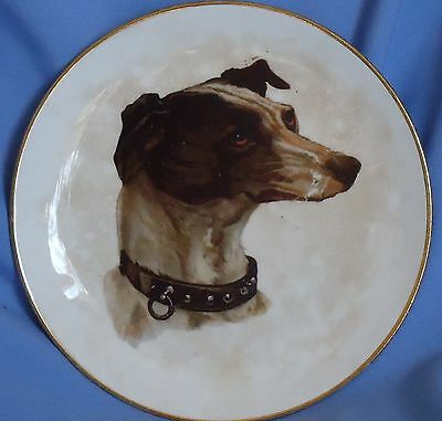 Antique Dresden Whippet Italian Greyhound Dog Plate