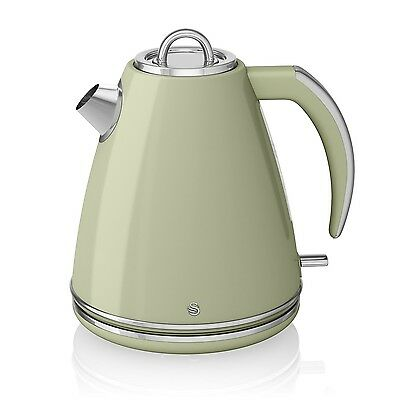Swan Retro 1.5 Litre Stainless Steel Kitchen Cordless Jug Kettle 3000W Green New