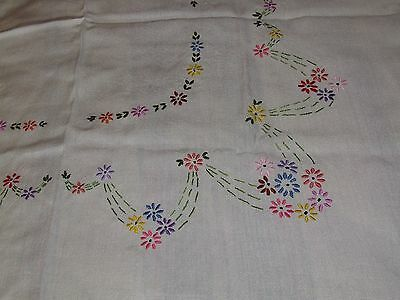 Small Vintage Pretty White Irish Linen Embroidered tablecloth Flower Design