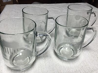 RARE! (4) UNION OIL 76 Refinery Etched Glass  Commemorative Mugs Oleum Refinery
