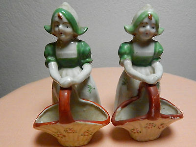 Old Beautiful Pair of Mini Girls Flower Baskets - Occupied Japan Miniatures