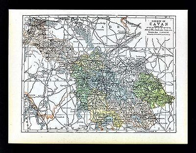 1900 Ireland Map - Cavan County - Ballyconnell Cootehill Black Lion Shercock