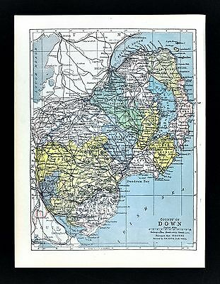 1900 Ireland Map - Down County - Belfast Newton Ards Killough Dundrum Kilkeel