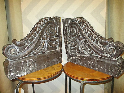 Extremely Rare Antique Pair Hand Carved Solid Yakal Hardwood Corbels Philippines