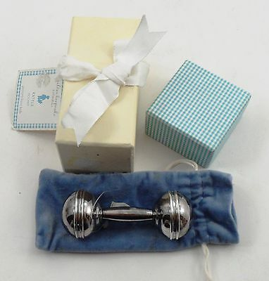 Pottery Barn Kids Silver Keepsake Silverplated Barbell Baby Rattle w/ Box & Bag