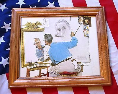 Framed Painting / Print by NORMAN ROCKWELL. Triple Self Portrait 1960