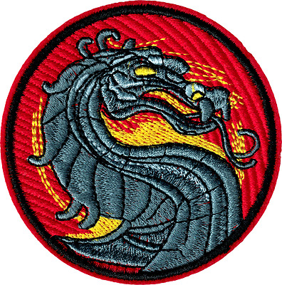 19618 Mortal Kombat Dragon Logo Video Game Round Embroidered Sew Iron On Patch