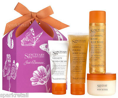 Sanctuary Spa JUST BECAUSE Gift Box: Body Wash, Scrub, Butter, Hand Cream MINIS
