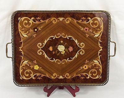 "Italian Inlaid Marquetry LARGE 23"" Serving Tray w/ Kingwood, Brass Edge Handles"
