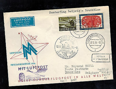 1956 Luxembourg First FLight Cover Leipzig Fair East Germany DDR FFC to Belgium