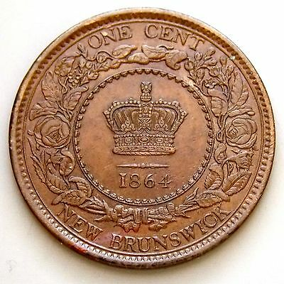 1864 New Brunswick Canada Canadian Large 1 Cent Victoria Coin