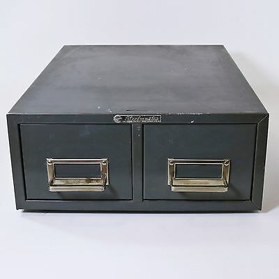 Vtg Steelmaster 2 Drawer Library Card Catalog Metal Index File Cabinet, Gray
