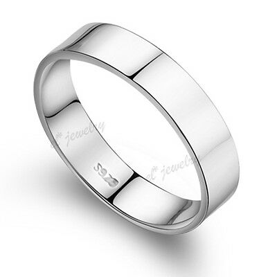 5MM Width Men Engagement Ring Pary Band 925 Silver Plated White Gold Sz 5-13