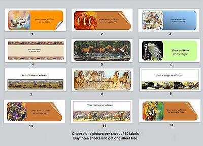 30 Personalized Return Address Labels Horses Buy 3 get 1 free (bho 1)