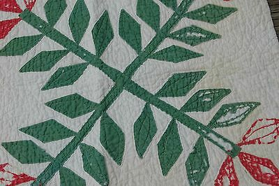 Antique Red Green Laural Leaf Applique Quilt Piece Cutter Block