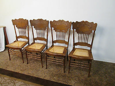 00001 T4:   Set 4 Antique Oak Dining Room Chair s