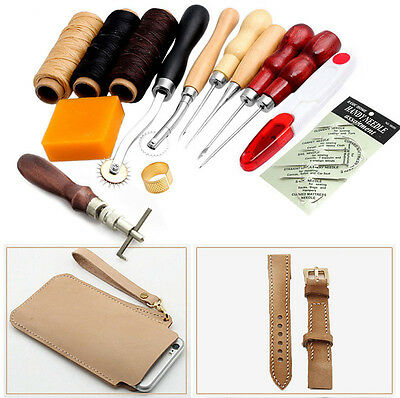 Leather Craft Hand Stitching Sewing Tool 14Pcs Thread Awl Waxed Thimble Kit