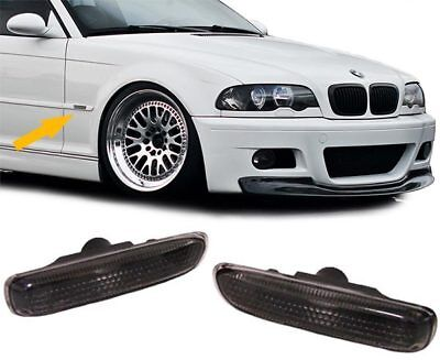 SIDE INDICATORS BLACK PAIR FOR BMW 3ER E46 Coupe Cabrio 99-03 Saloon Touring