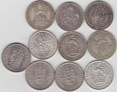 Type Set Of 10 Shillings Dated 1887 To 1964 In Fine Or Better Condition