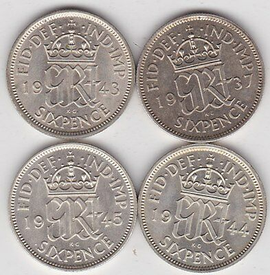 Four Sixpences Dated 1937/1943/1944 & 1945 In Mint Condition Or Very Near