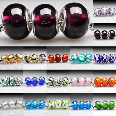 5/10pcs Murano Glass Beads Lampwork Round Fit Charm European Bracelet Hot Sale