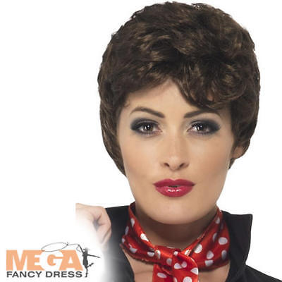 1950s Grease Brown Rizzo Wig Ladies Fancy Dress 50s Womens Costume Accessory New