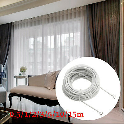 Net Curtain Wire White Window Cord Cable with HOOKS & EYE set