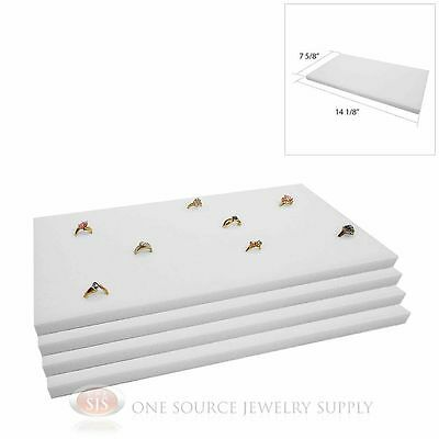 4 White Ring Display Pads Holds 72 Slot Rings Tray or Case Jewelry Insert