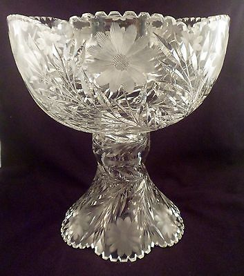 Antique American Brilliant Period Punchbowl with Stand, Intaglio Daisy, Vine