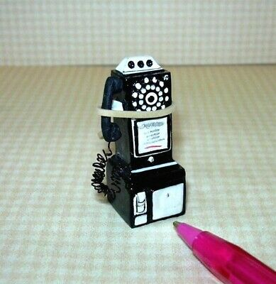 Miniature Resin 50's Pay Phone, BLACK for DOLLHOUSE 1/12 Scale Miniatures