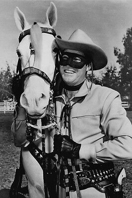 The Lone Ranger Clayton Moore smiling in costume by Silver 24x36 Poster