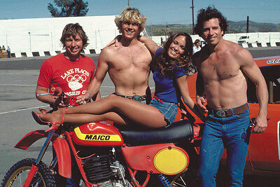 The Dukes of Hazzard Catherine Bach Wopat Schneider motorbike barechested Poster