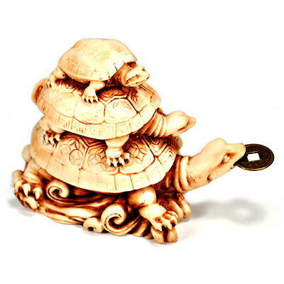 THREE TURTLE WEALTH FENG SHUI CURE w COIN 3 Tortoise Health NEW Money Prosperity