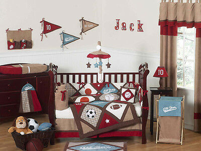Cheap Red Blue Brown Sports Theme Designer Boys Crib Baby Bedding Comforter Set