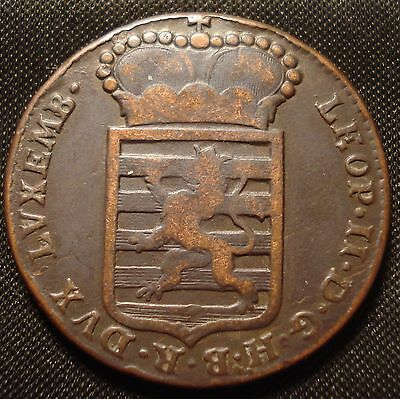 Rare Luxembourg 1790 H Sol Leopold Ii Habsburg Nice Collectable Grade Km# 15