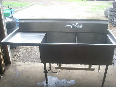 Used Stainless Steel 2-Compartment Sink with Twist Drain AND FAUSET