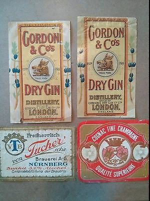 """Vintage Lot of 4 Mixed Liquor Labels 3.5 X 5.5"""" Gordon & Co. Dry Gin"""