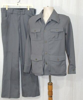 Vintage 70s Mens GRAY Retro Polyester LEISURE Suit Hipster Jacket SM Pants 32x30