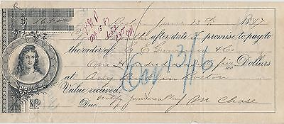 1887 Promise Note ~ $1000 ~ First National Bank, Merrimac  Mass. ~ $165