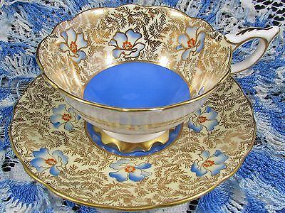 Royal Stafford Gold Beaded Floral Blue Tea Cup And Saucer