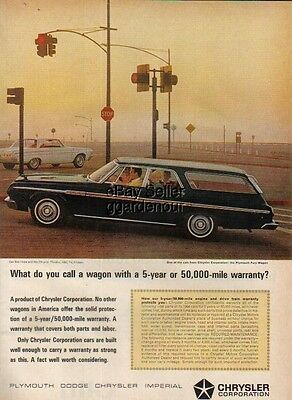 1964 black Plymouth Fury station wagon Chrysler car ad : Vintage Advertising