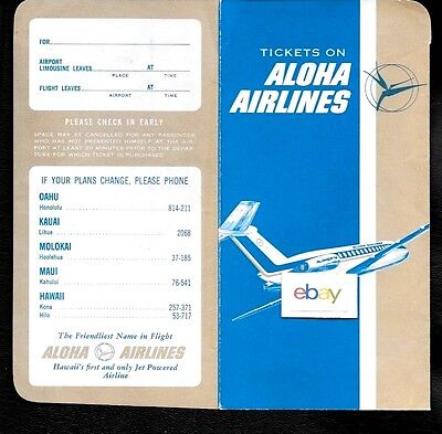 Aloha Airlines Ticket Jacket/folder Bac-1-11 1968 Friendliest Name In Flight