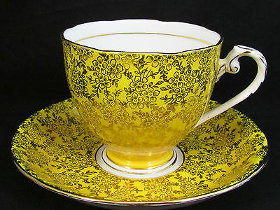 Royal Grafton Yellow Gold Gilt Floral Chintz Tea Cup And Saucer