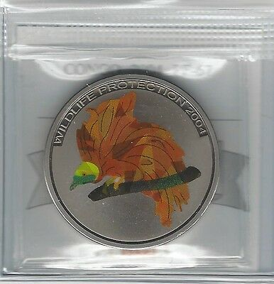 **2004**Congo, 5 Francs, Coin Mart Graded**PF-67**Wildlife Protection (Red Bird)